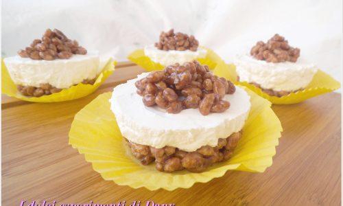 Mini cheesecakes fredde al riso soffiato