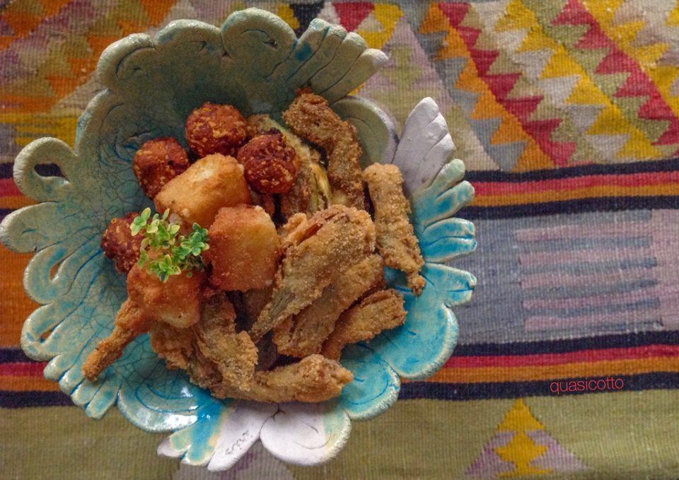 Fritto di carciofi pecorino e pane