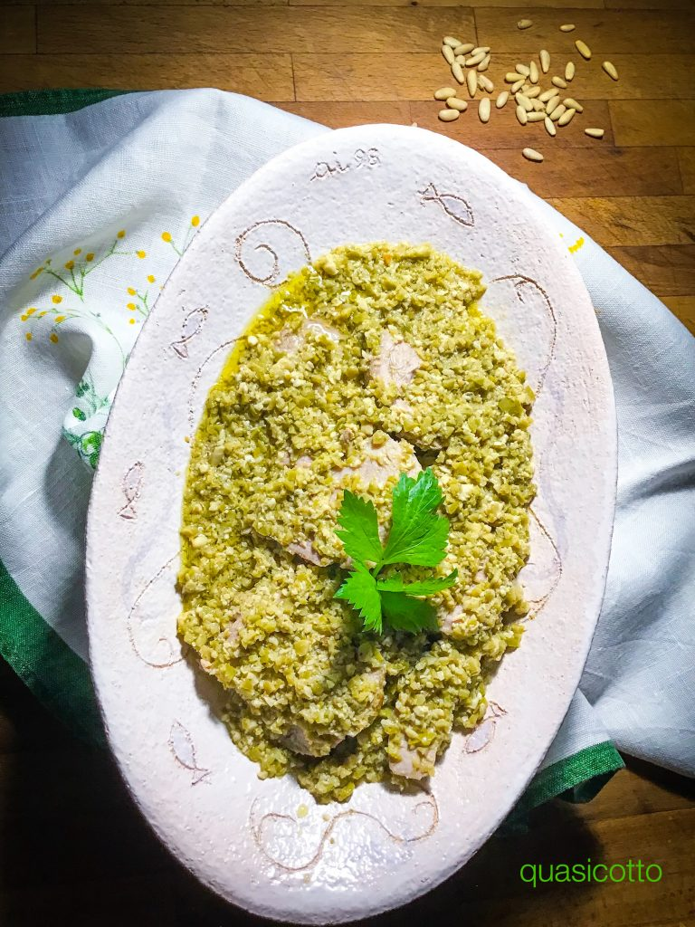 Vitello arrosto in padella con salsa di olive
