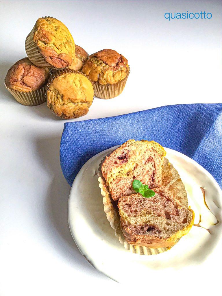 Muffins con crema di pistacchi e di nocciole
