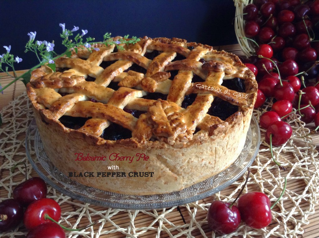 Balsamic cherry pie with black pepper crust