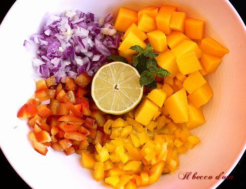 Macedonia di verdure con sapori tropicali, coloratissima!