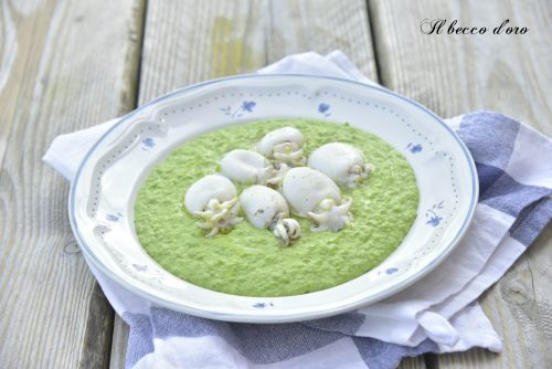 Seppie con purea di piselli al curry verde