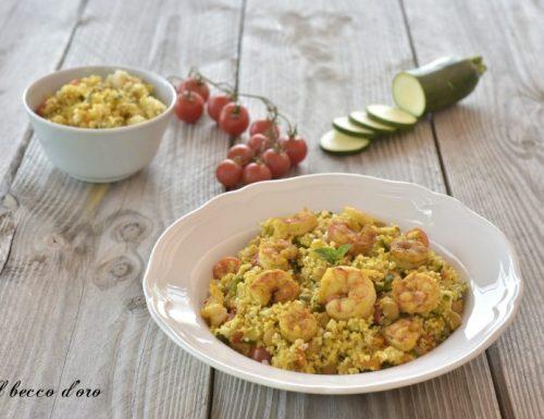 Cous cous con gamberi e verdure al curry