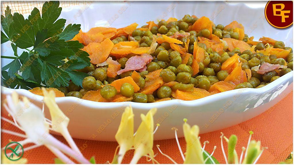 Contorno piselli carote e prosciutto