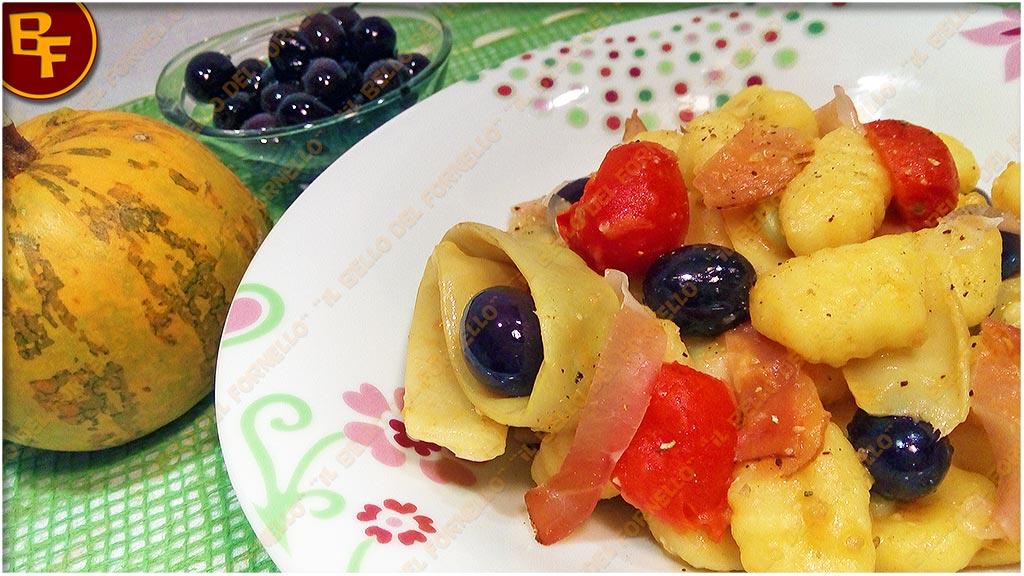 Gnocchi di patate con fagioli meraviglia olive nere e speck