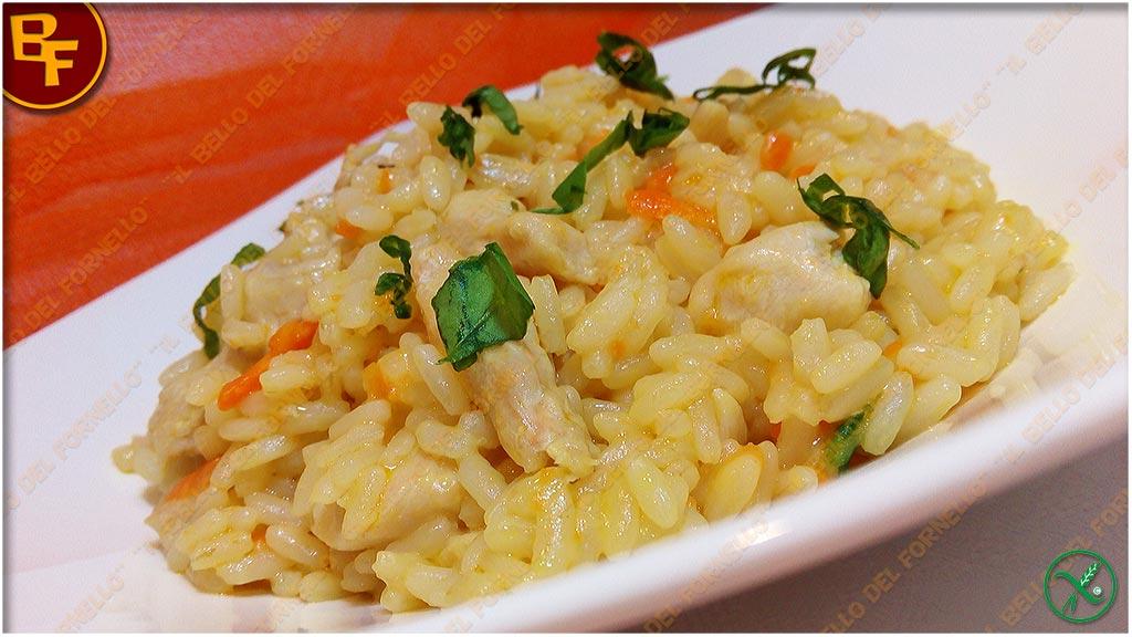 Risotto con pollo e carote al curry
