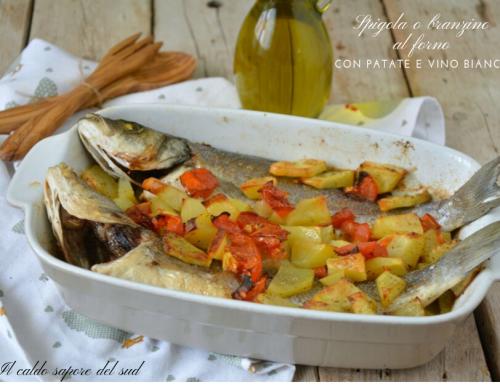 Spigola o branzino al forno con patate e vino bianco