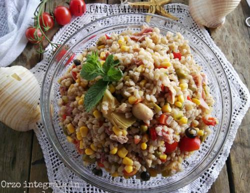 Orzo integrale in insalata piatto freddo