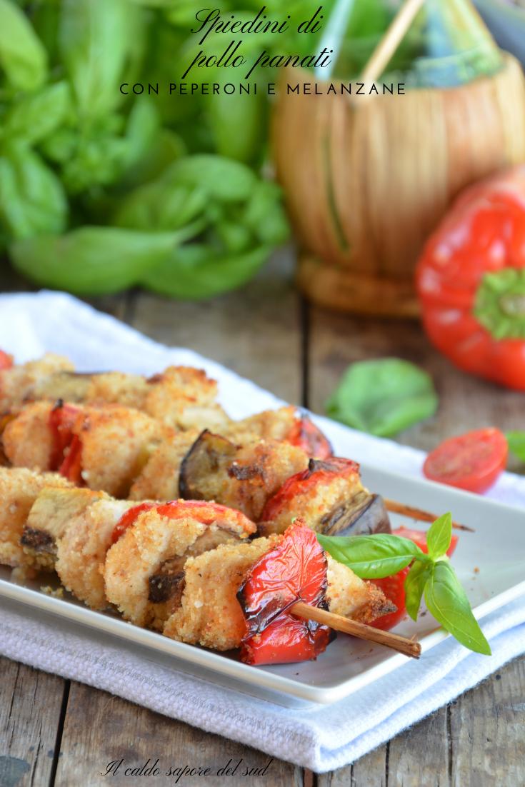 Spiedini di pollo panati con peperoni e melanzane