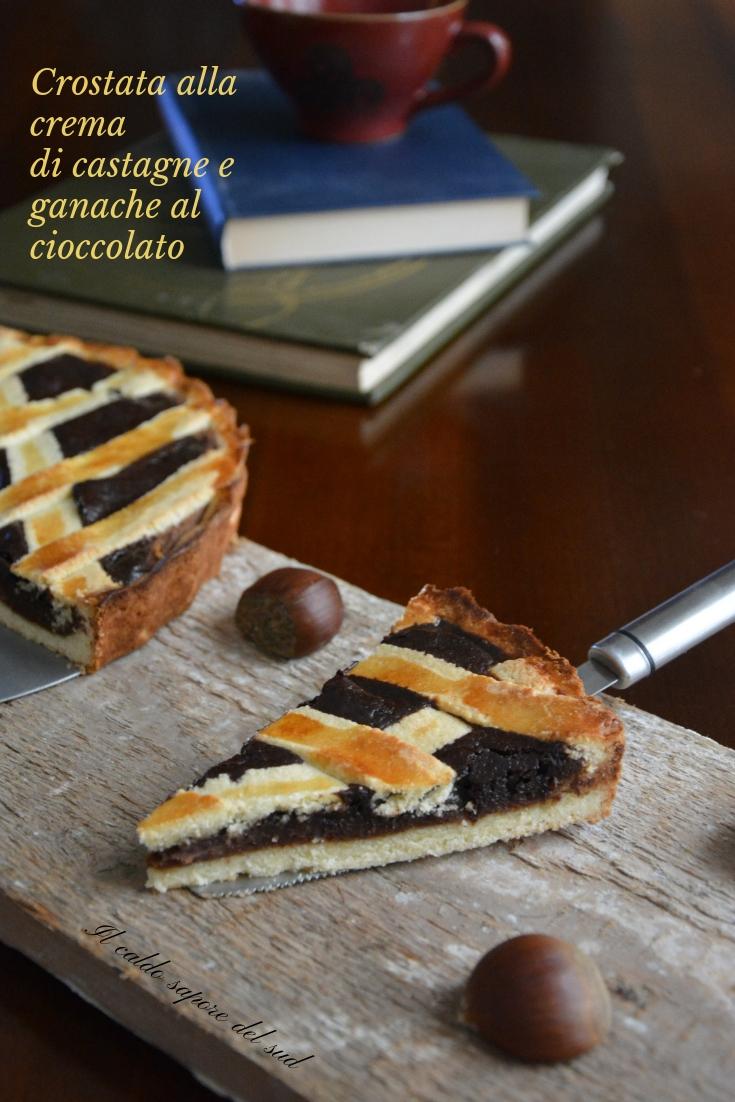 Crostata con crema di castagne e ganache al cioccolato