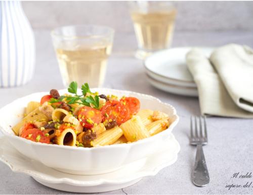 Pasta con pesce spada pomodorini e pistacchio