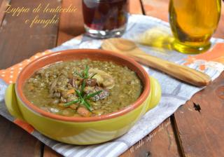 Zuppa di lenticchie e funghi