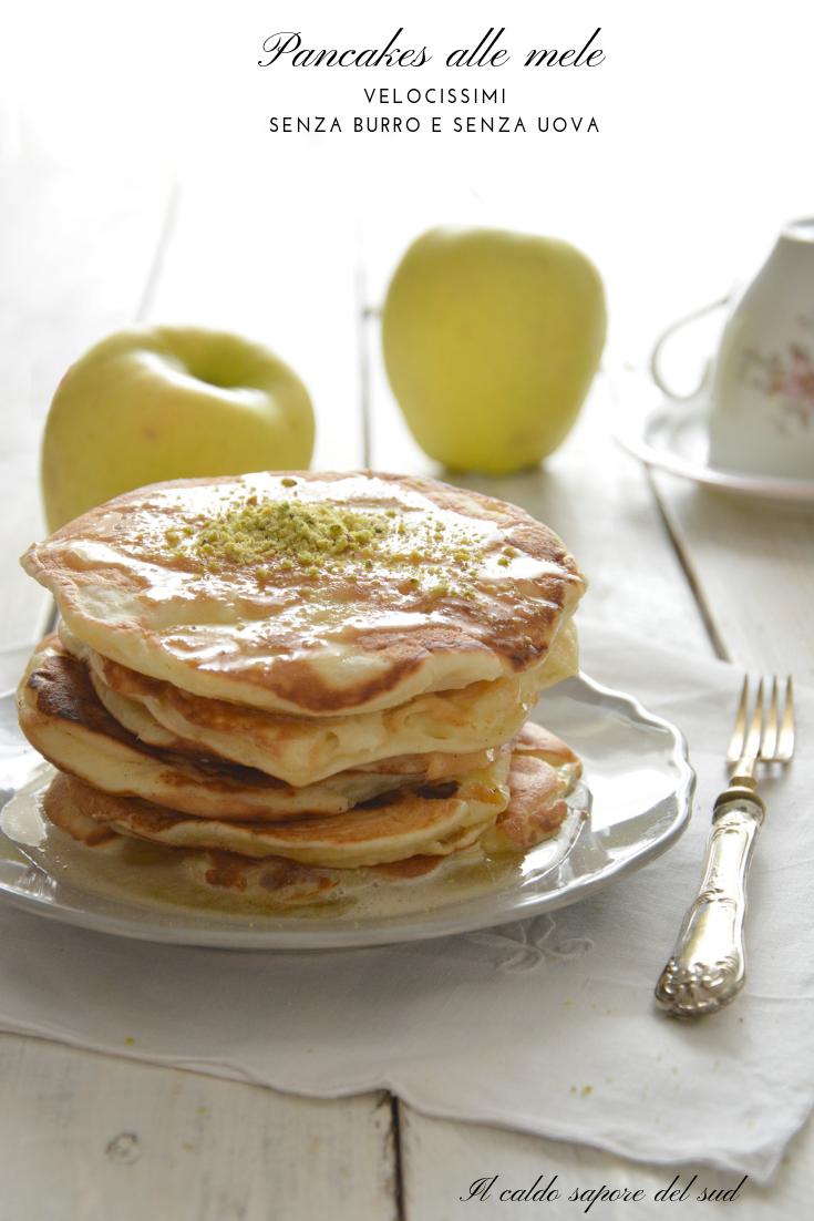 Pancakes alle mele senza uova e burro