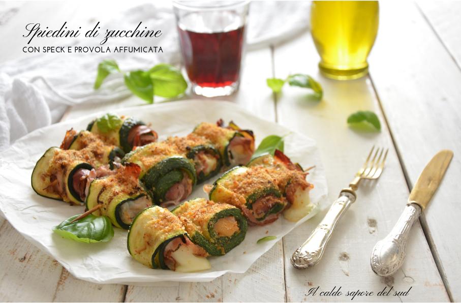 Spiedini di zucchine con speck e provola affumicata