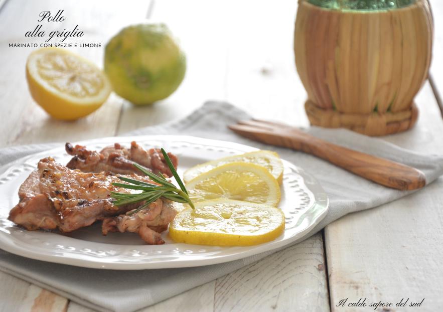 Pollo alla griglia marinato con spezie e limone