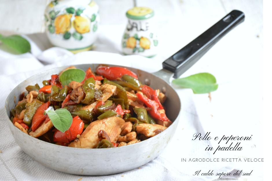 Pollo e peperoni in padella