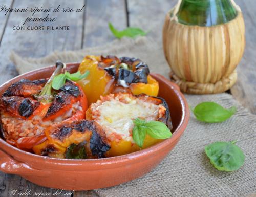 Peperoni ripieni di riso al pomodoro con cuore filante