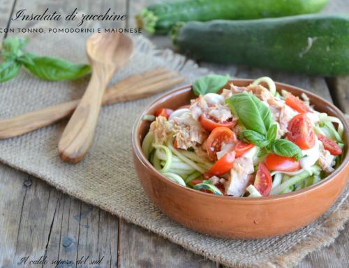 Insalata di zucchine con tonno maionese e pomodorini