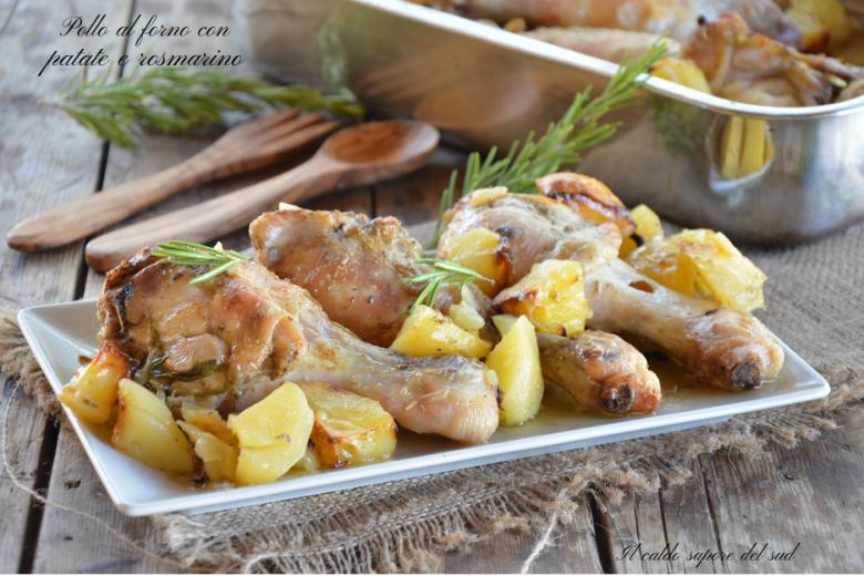 Pollo al forno con patate e rosmarino ricetta semplice