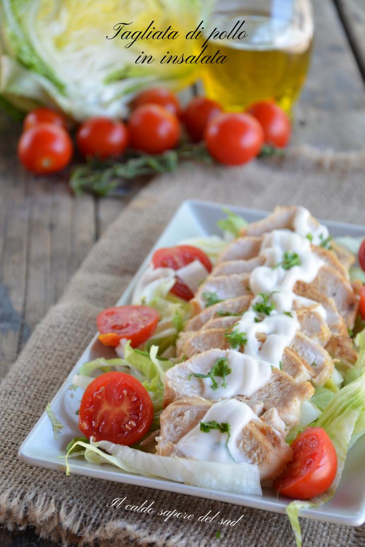 Tagliata di pollo in insalata cottura in padella