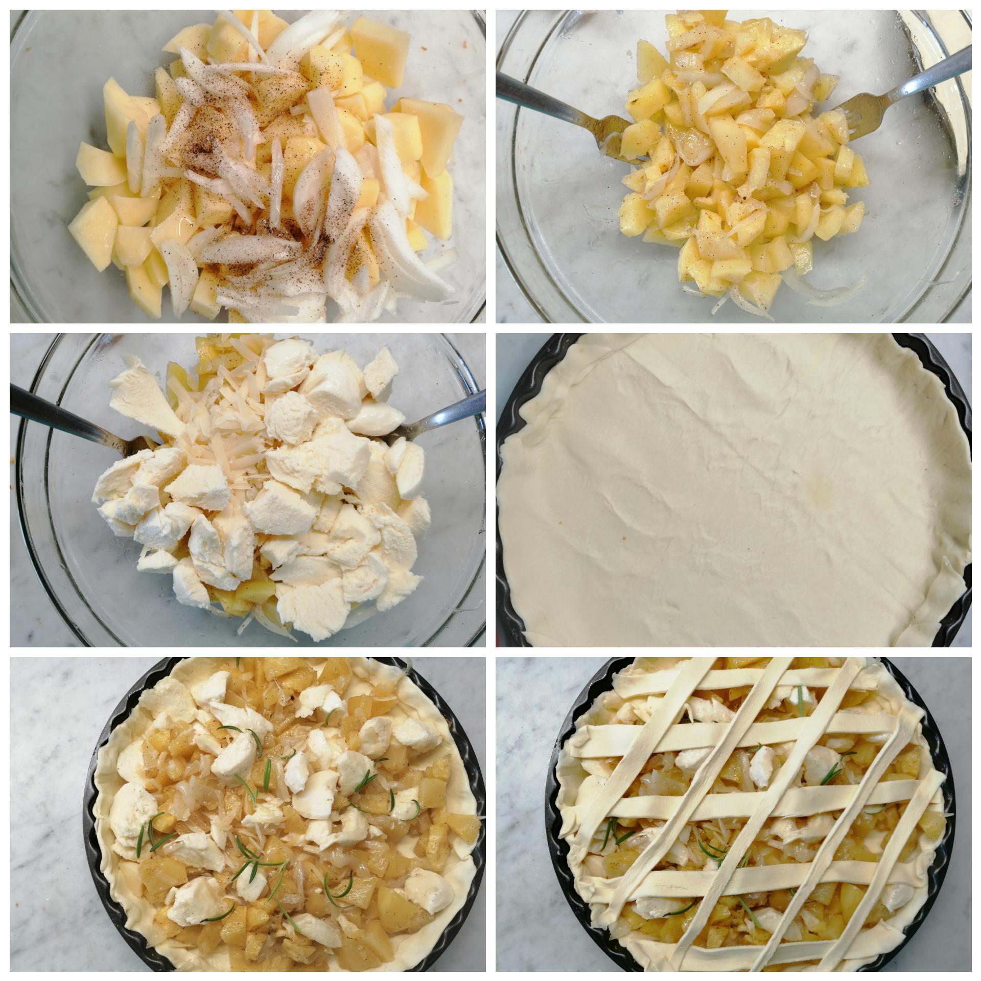 Crostata di sfoglia con patate e mozzarella
