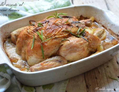 Pollo arrosto al vino bianco con patate