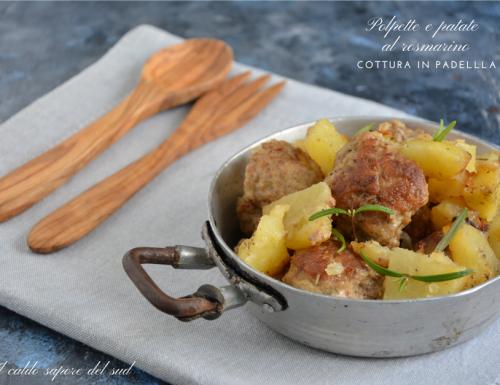 Polpette e patate al rosmarino cotte in padella