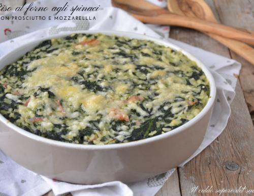 Riso al forno agli spinaci con prosciutto e formaggio