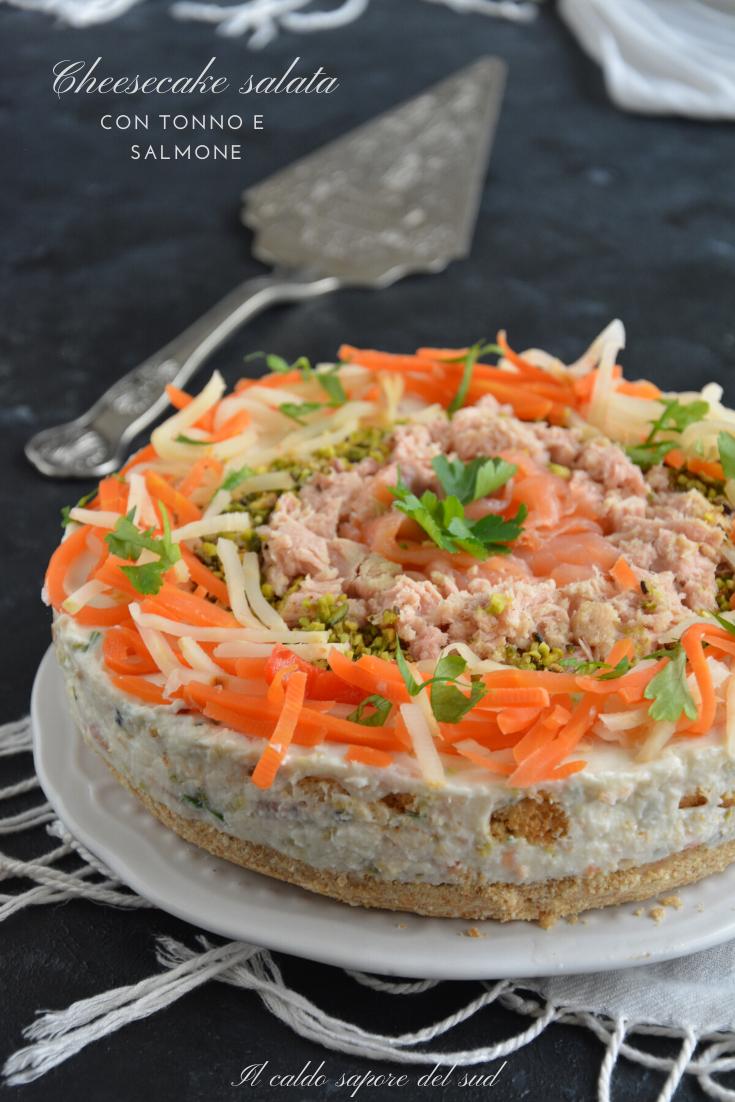 Cheesecake salata con tonno e salmone