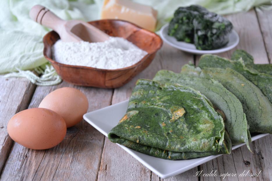 Crêpes salate agli spinaci