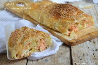Rotolo di sfoglia con patate e salmone