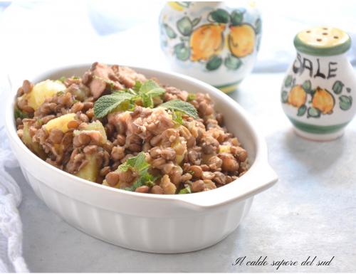 Insalata di lenticchie con tonno e patate