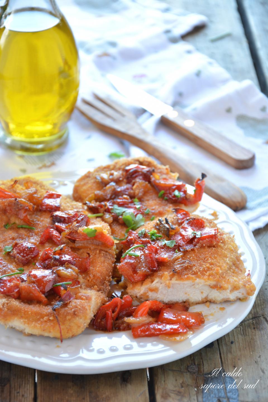 Cotolette di pollo al forno con peperoni