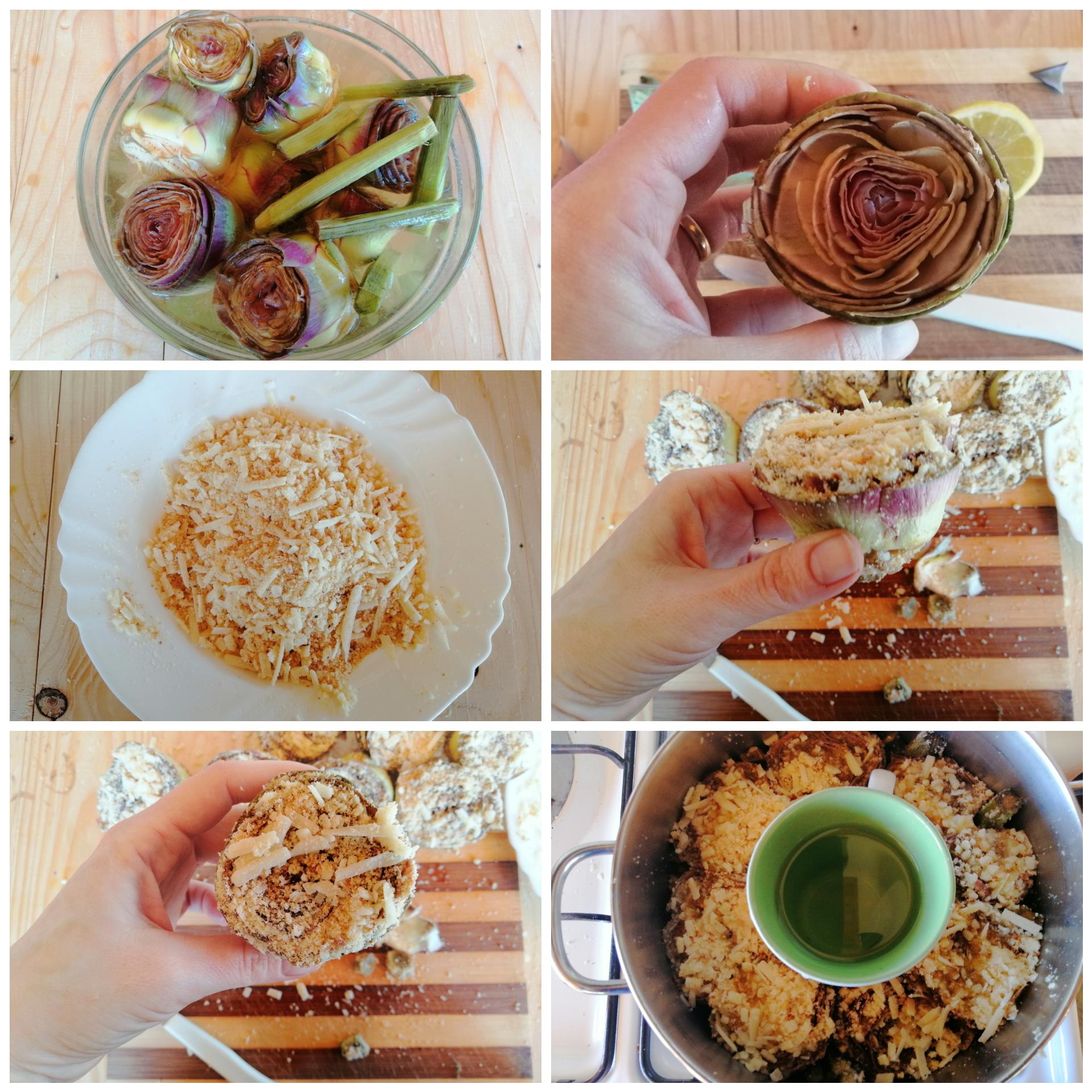 Carciofi ripieni in padella con pangrattato e parmigiano: preparazione...