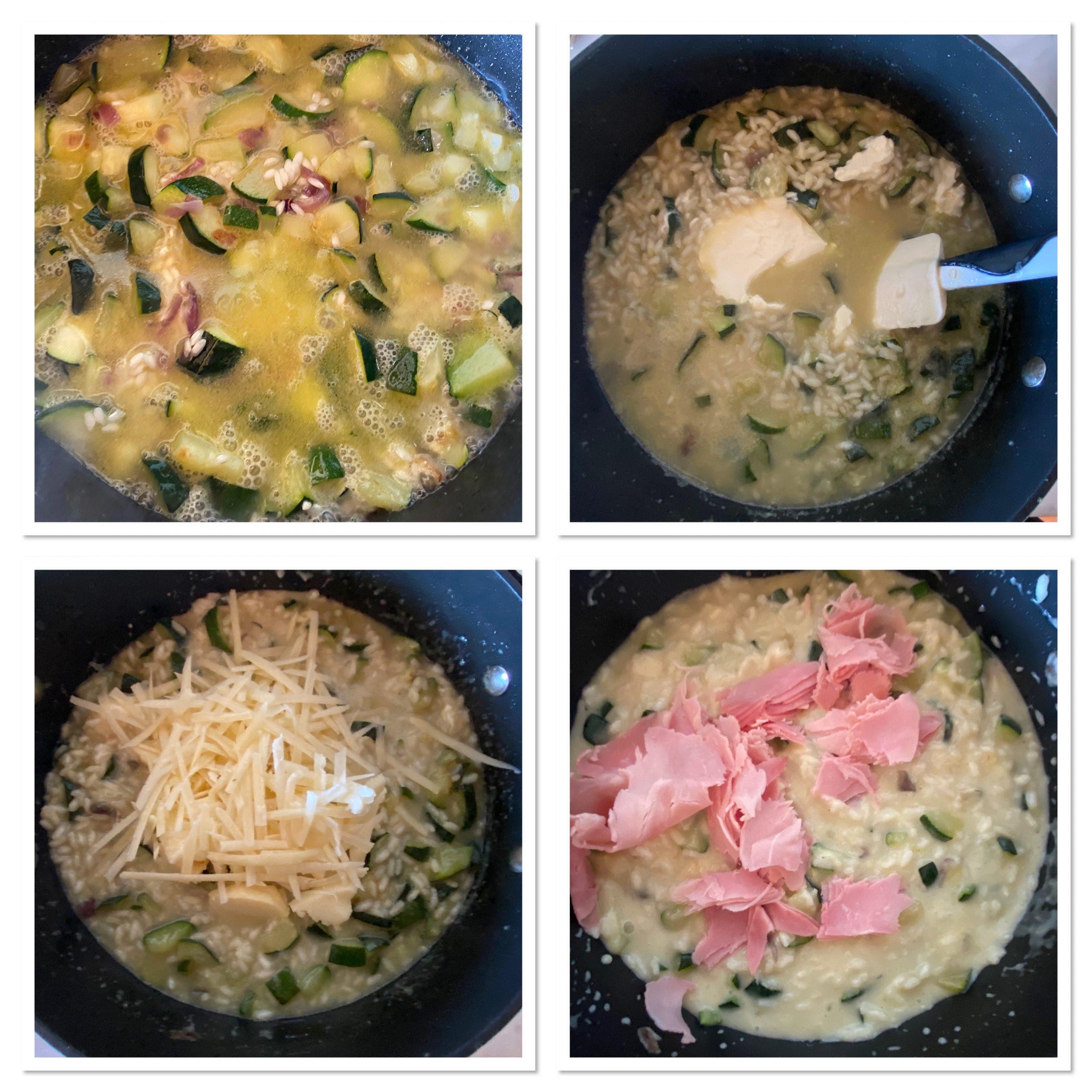 Riso al forno con scamorza zucchine affumicata e prosciutto