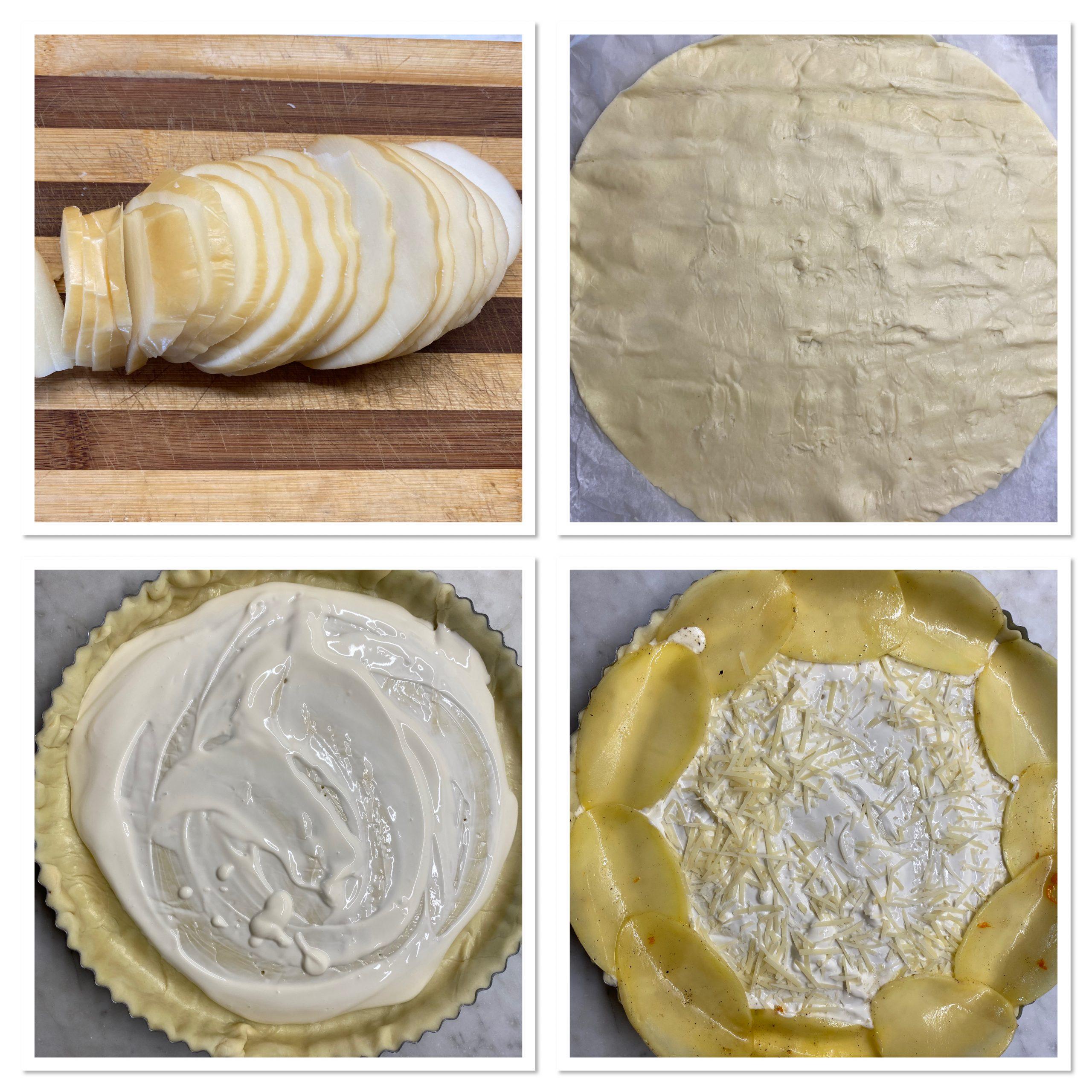 Torta salata con zucca patate e provola affumicata