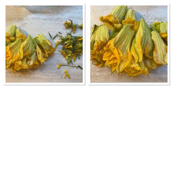Risotto con fiori di zucca e pancetta