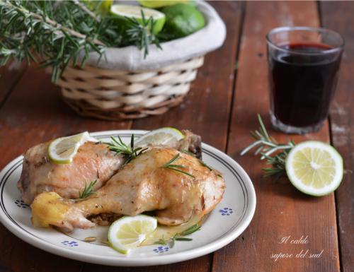 Pollo arrosto cotto in padella al limone e rosmarino