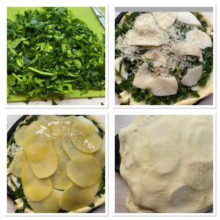 Torta salata di spinaci e patate con pasta lievitata