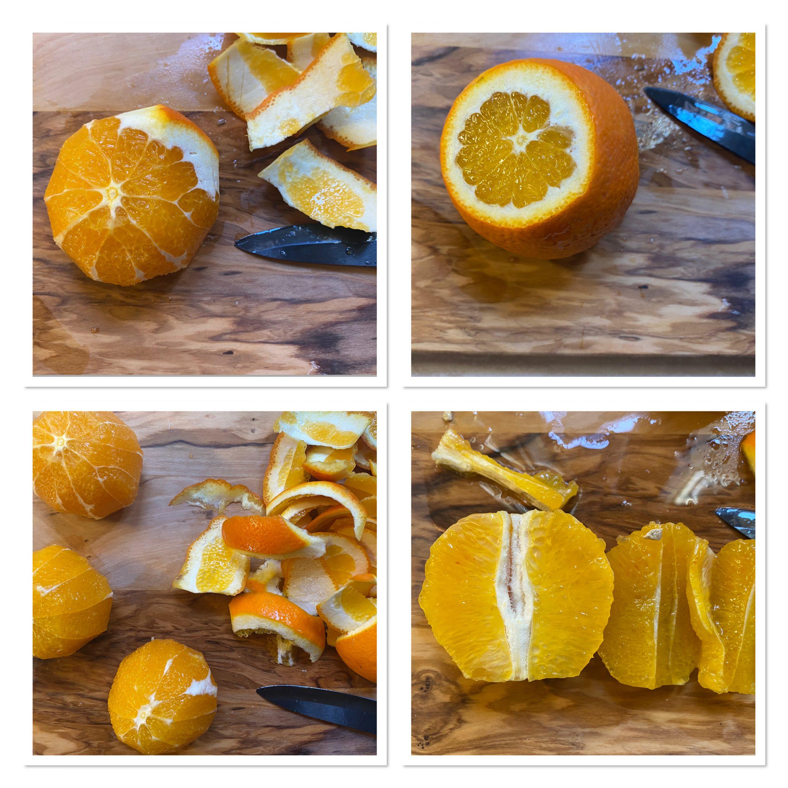 Insalata di finocchi arance e mele con uvetta e mandorle in scaglie