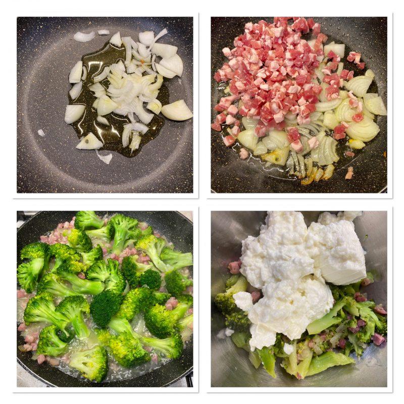 Torta salata con broccoli ricotta e pancetta