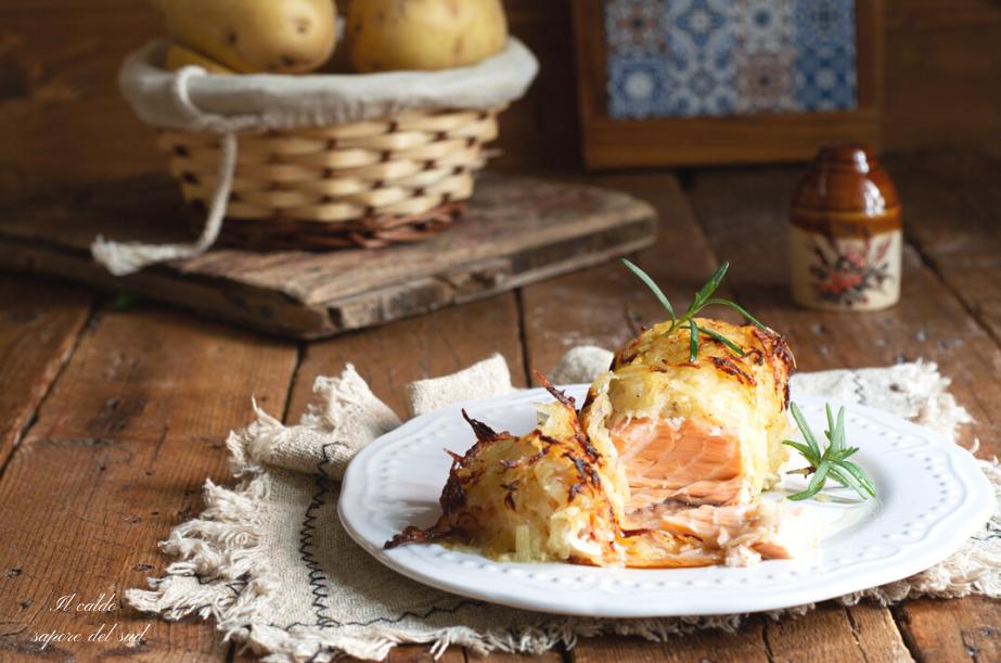 Filetto di salmone al forno in crosta di patate