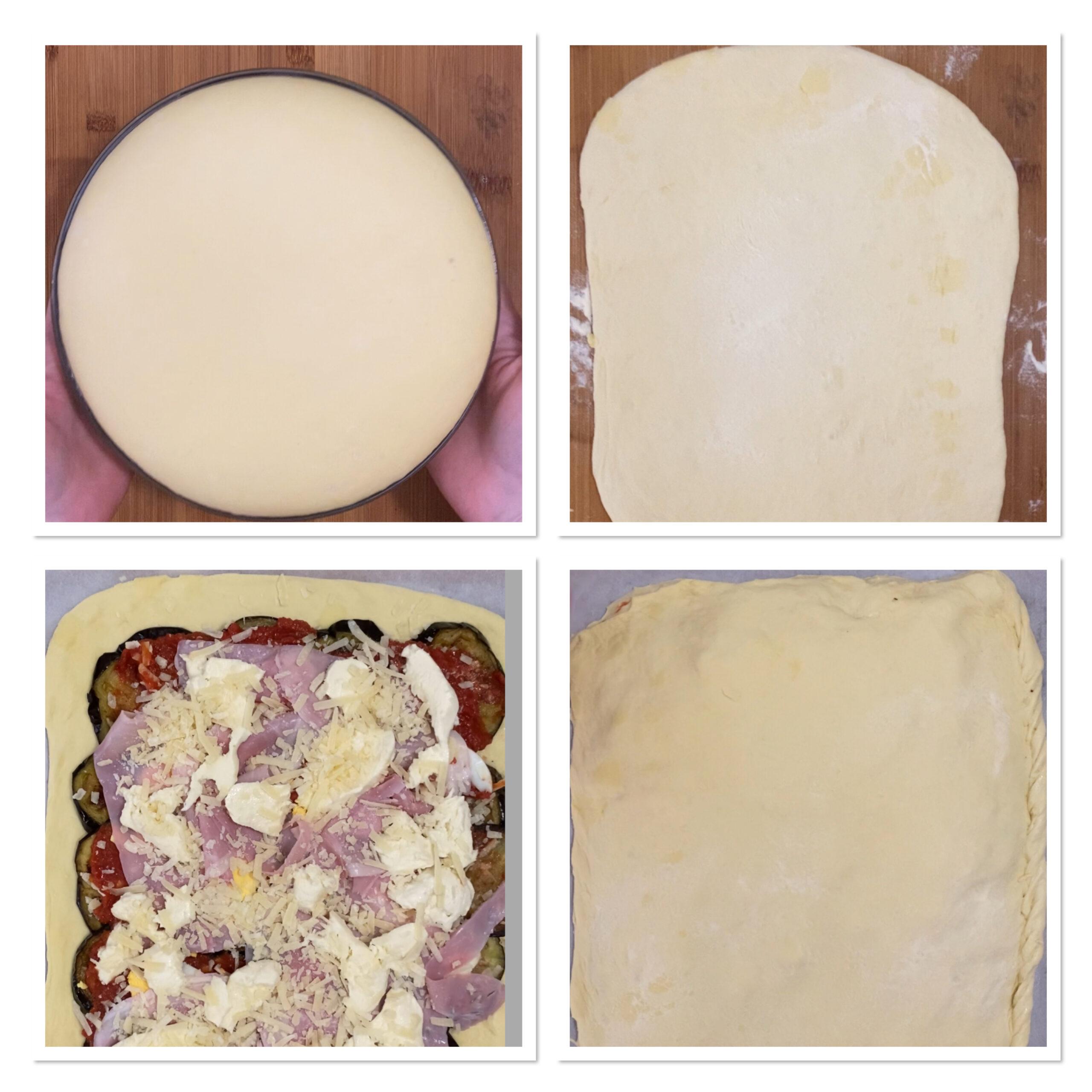 Pizza coperta alla parmigiana con melanzane fritte
