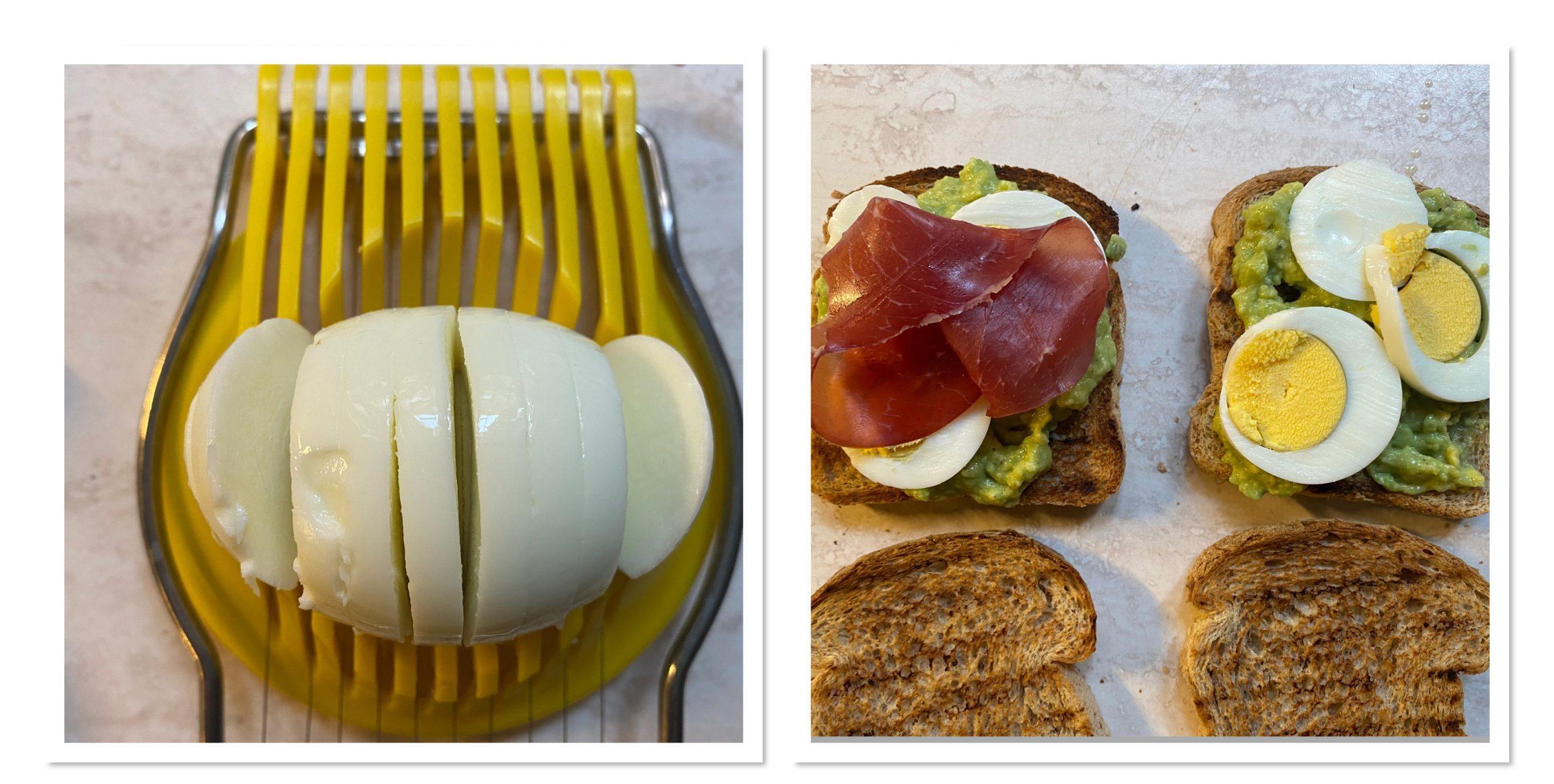 Avocado toast con uova sode e bresaola