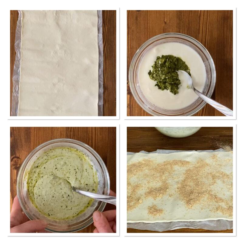 Torta di girelle al pesto  con pasta sfoglia