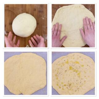Pizza focaccia con stracchino mortadella e pistacchio