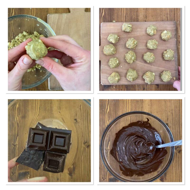 Praline al pistacchio e cioccolato fondente con biscotti sbriciolati