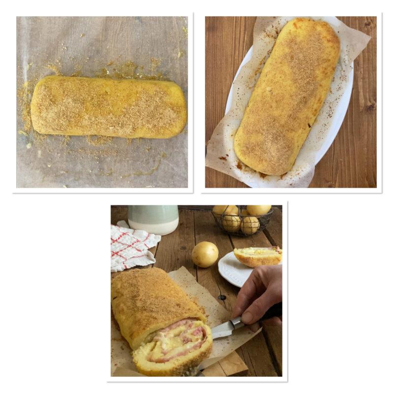 Rotolo di patate con speck e formaggio cotto al forno