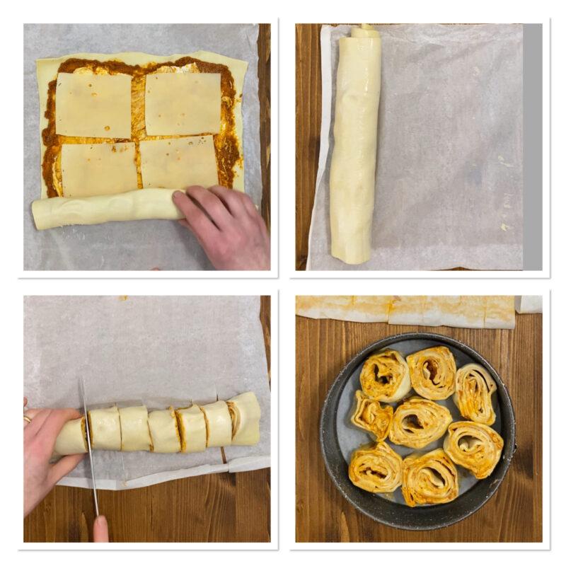 Torta di girelle al pesto di pomodori secchi con pasta sfoglia
